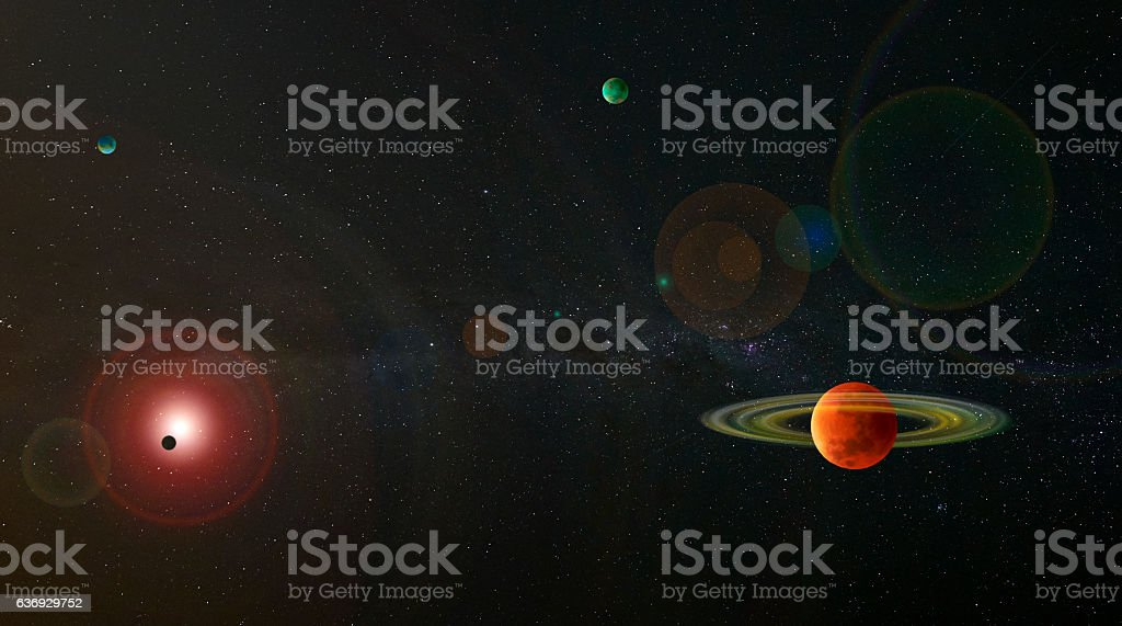 Approaching Planetary Star System stock photo