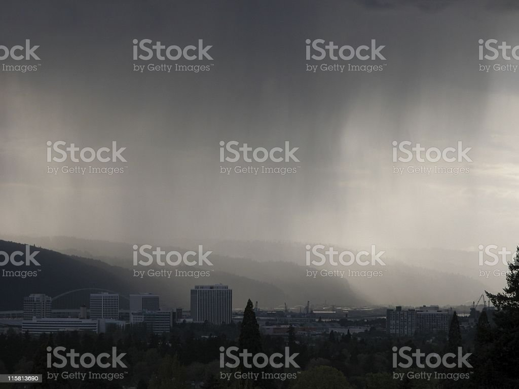 Approaching Rainstorm over Portland from Mount Tabor royalty-free stock photo