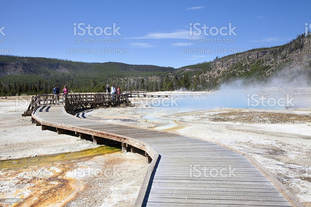 Approaching Sapphire Pool, Yellowstone National Park in Autumn stock photo