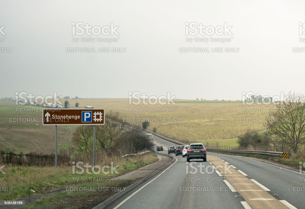 Approaching Stonehenge by car stock photo