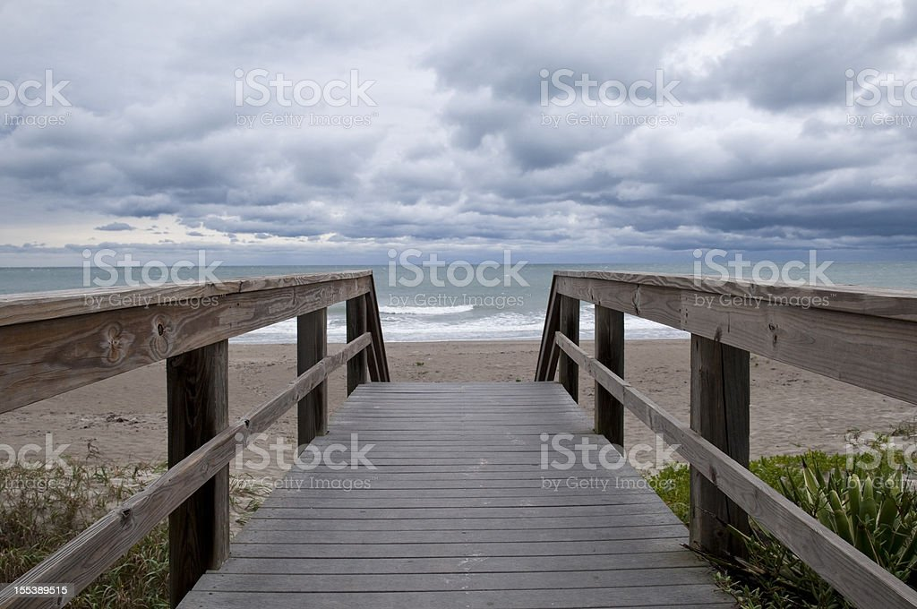 Approaching storm at beach royalty-free stock photo
