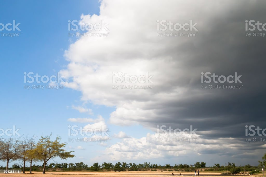 Approaching Storm Front Creating a Dramatic Sky stock photo