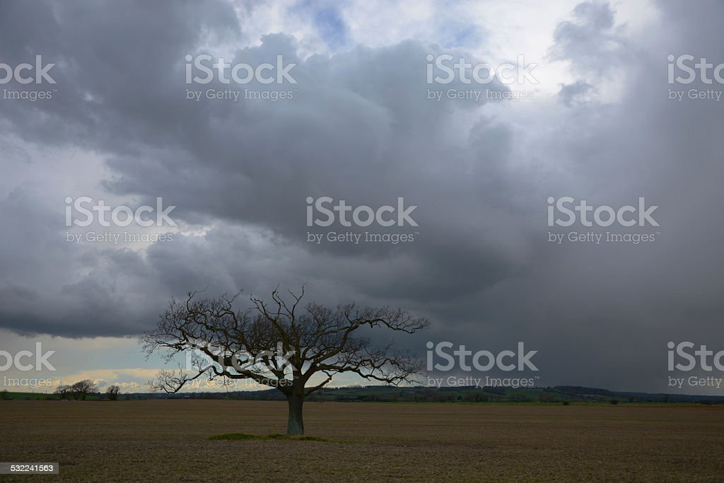 Approaching Storm in Early Spring stock photo