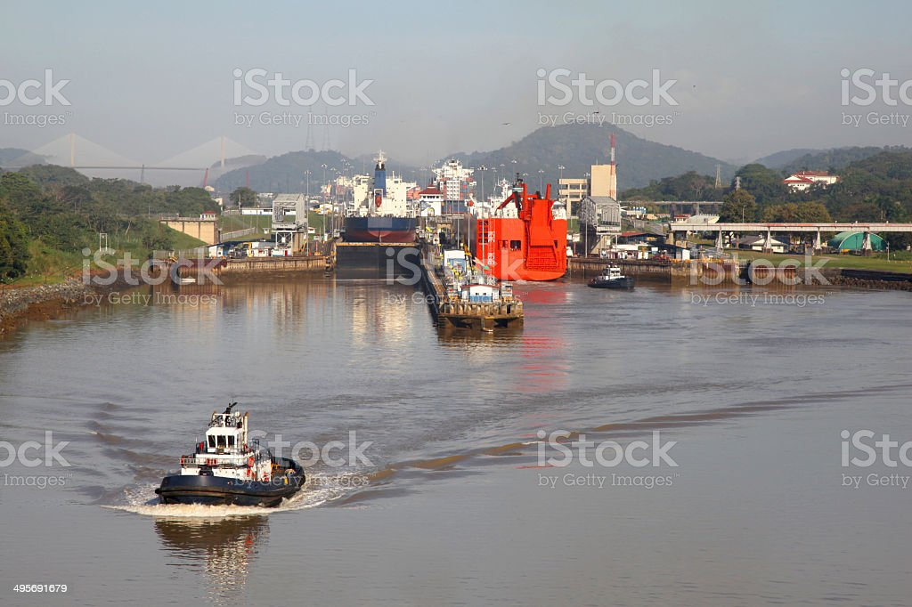 Approaching the Mira Flores lock in the Panama Canal. stock photo