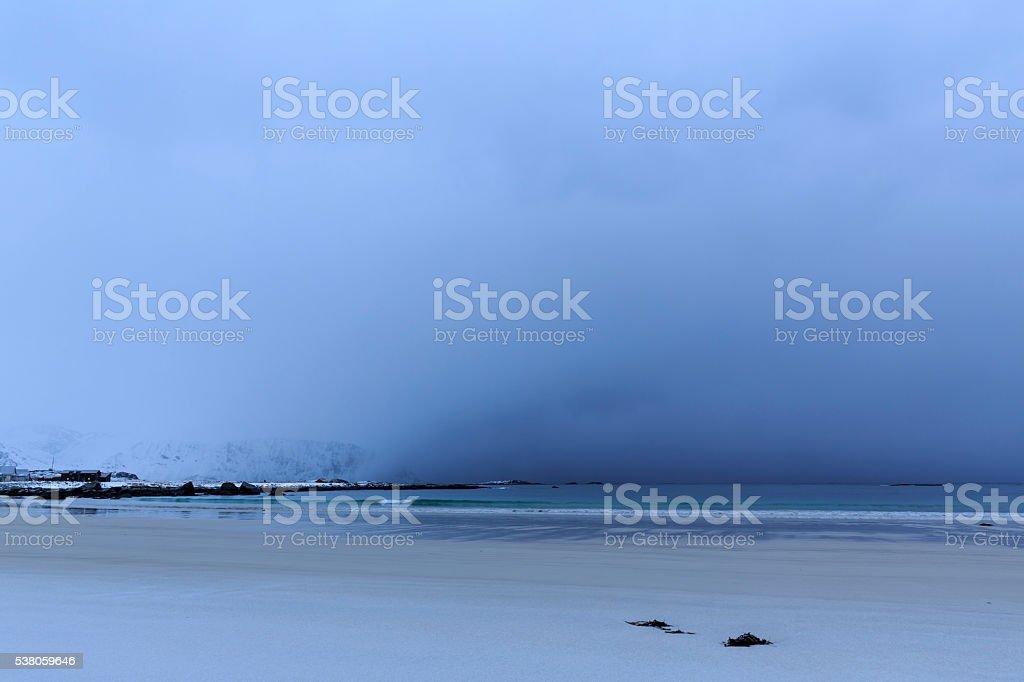 Approaching thunderstorm on Ramberg-beach stock photo