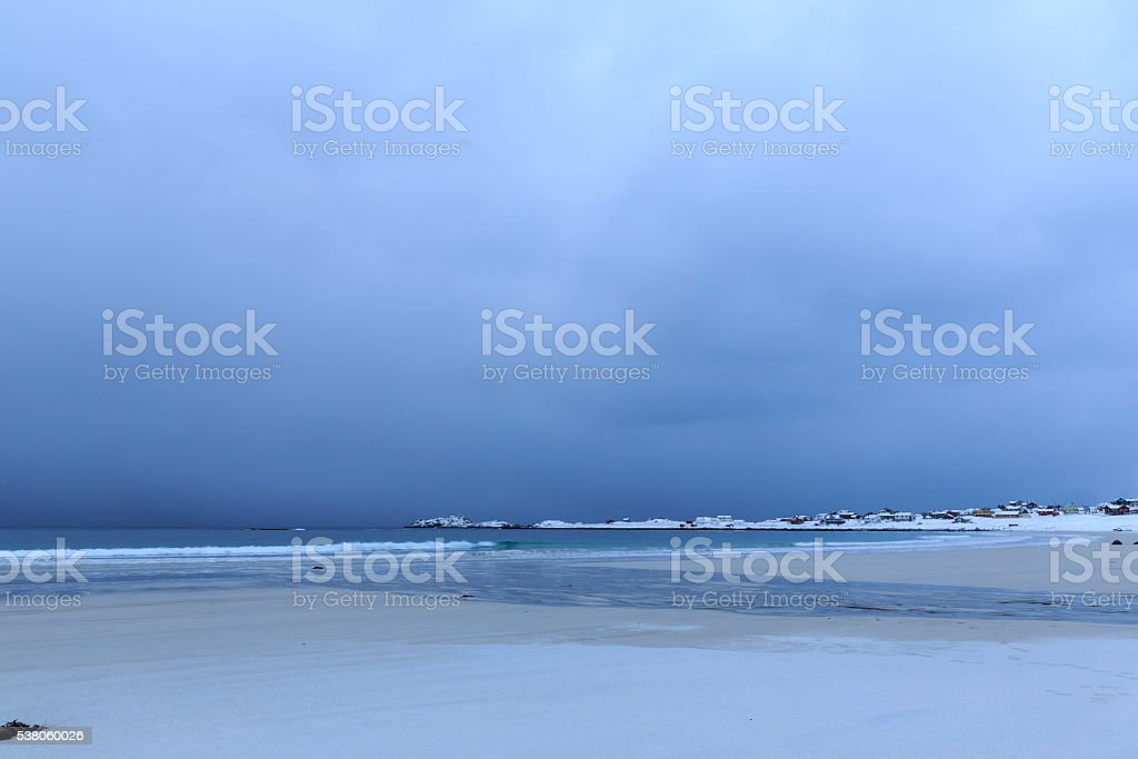 Approaching thunderstorm on Ramberg-beach on Lofoten Islands,...
