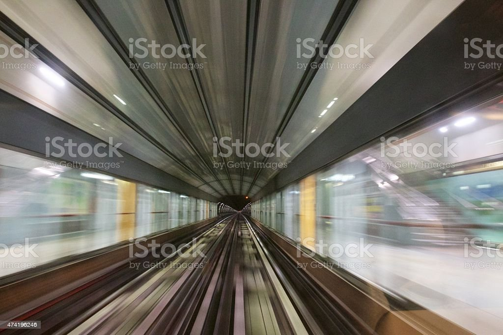 approaching to subway station shot in train royalty-free stock photo