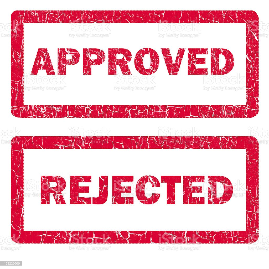 approved and rejected rubber stamps isolated stock photo