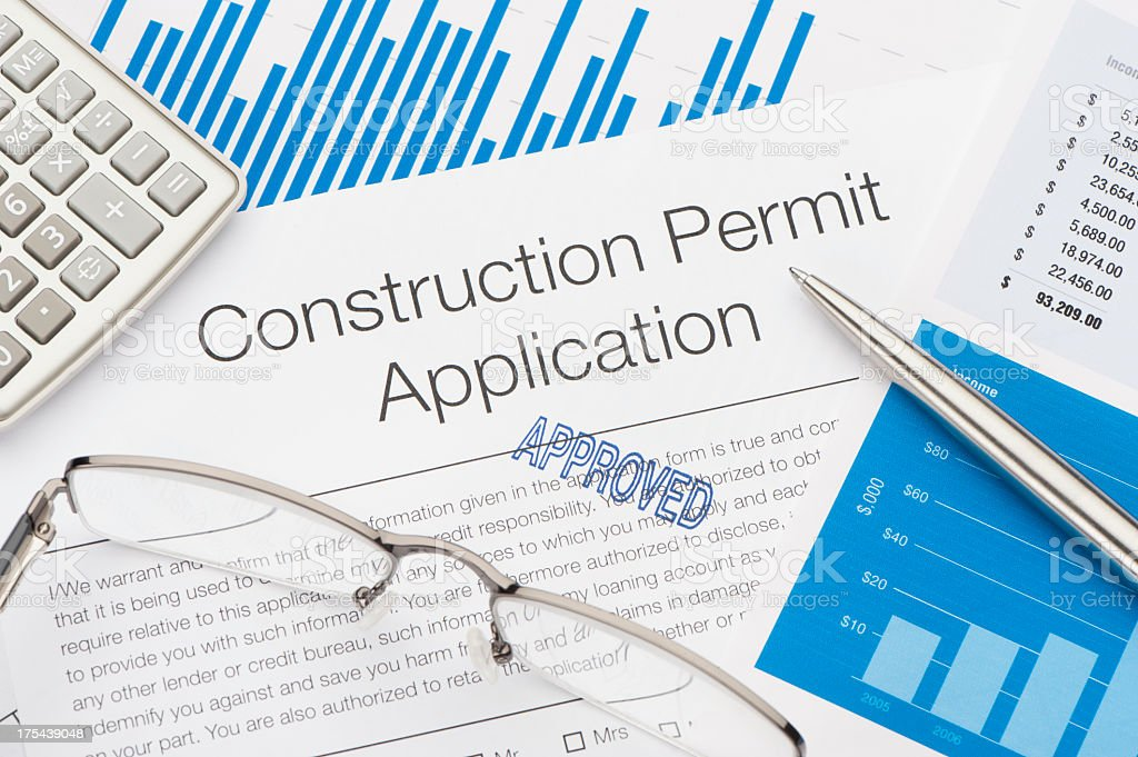 Approved Construction Permit Application stock photo