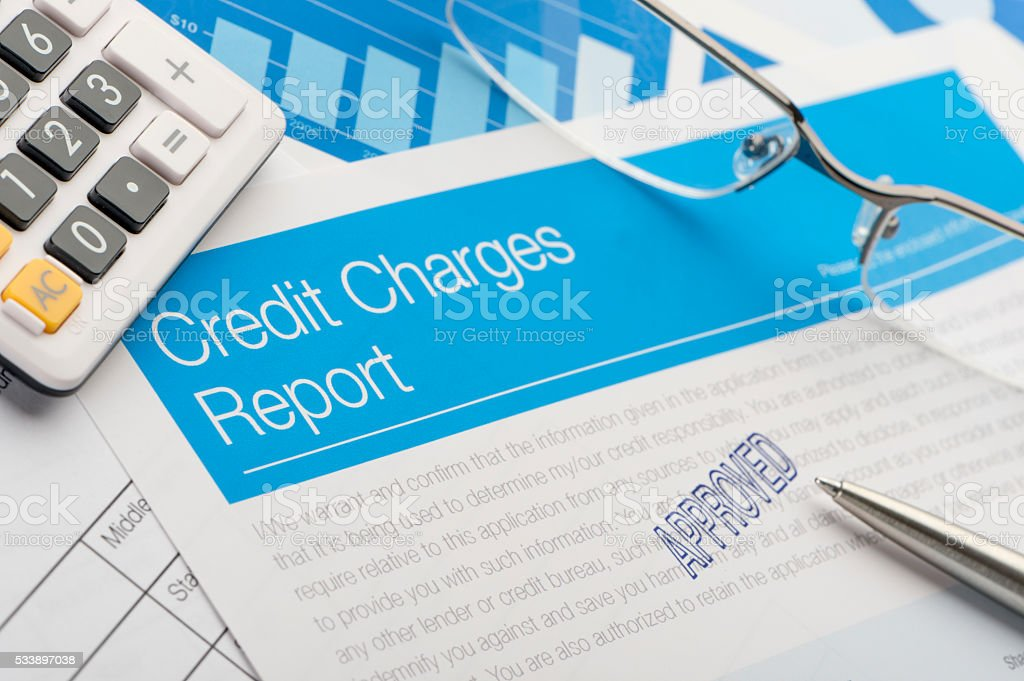 Approved credit card report form stock photo