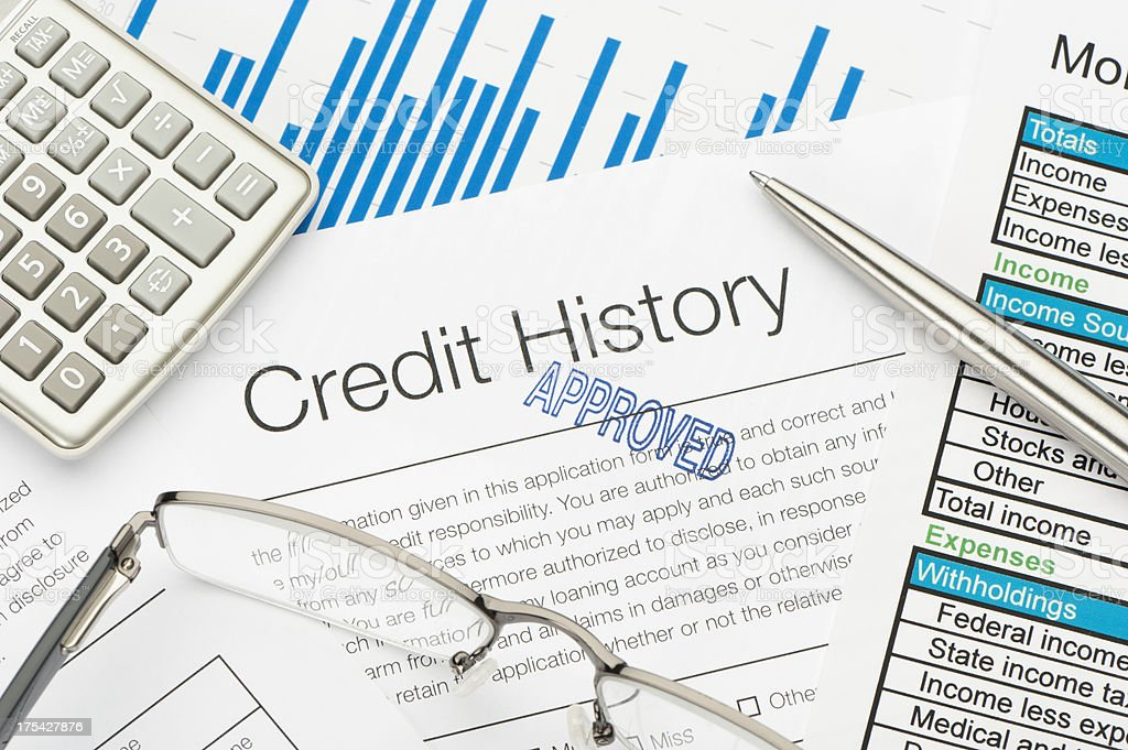 Approved Credit History form stock photo