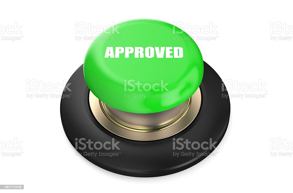 Approved green push button stock photo