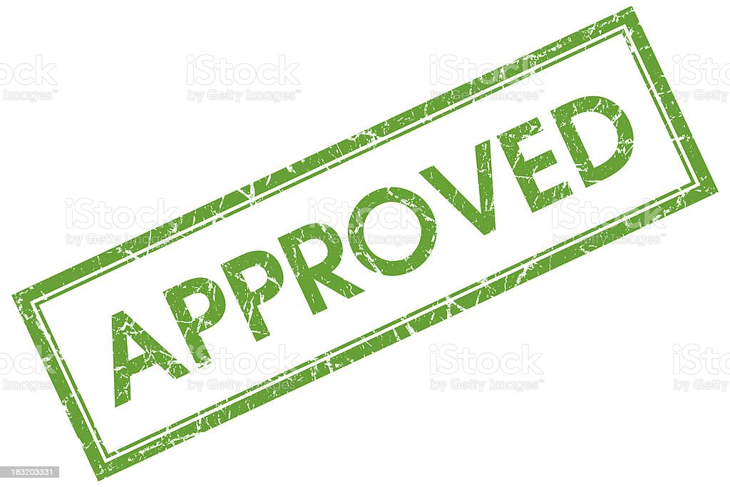 approved green stamp stock photo