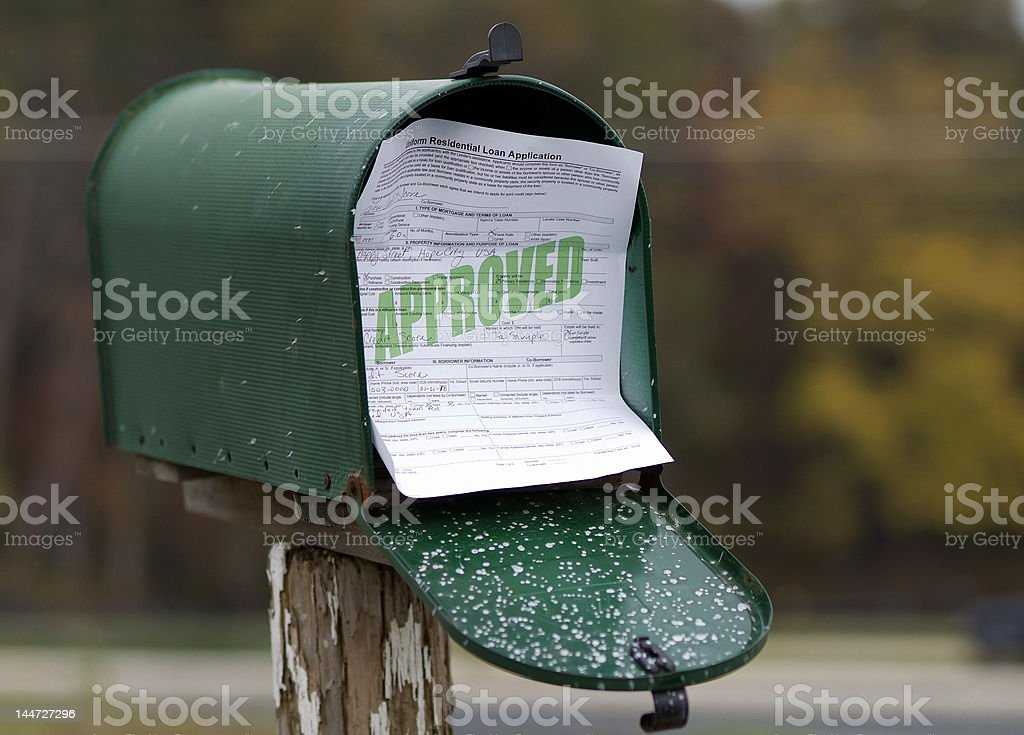 Approved Loan Application by Mail royalty-free stock photo