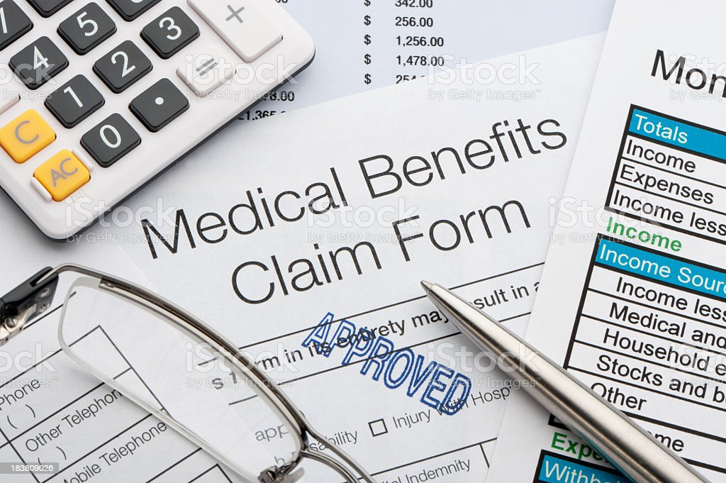 Approved Medical benefits claim form stock photo