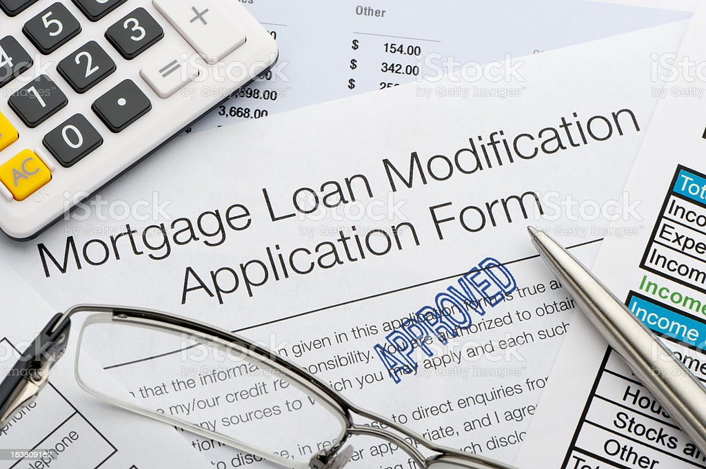 Approved Mortgage loan modification application royalty-free stock photo