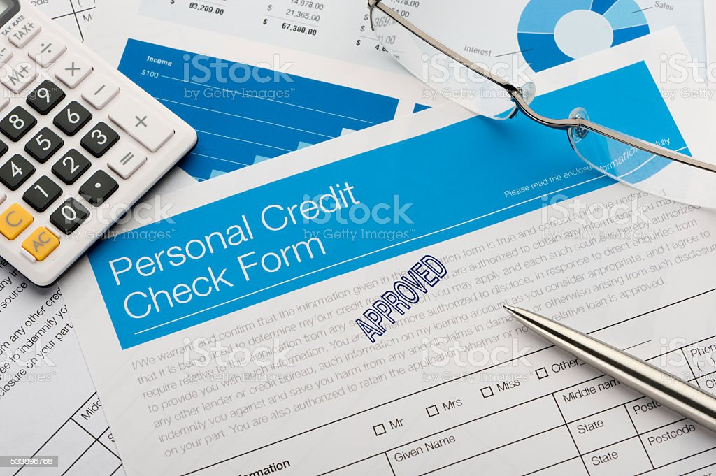 Approved personal Credit check form stock photo