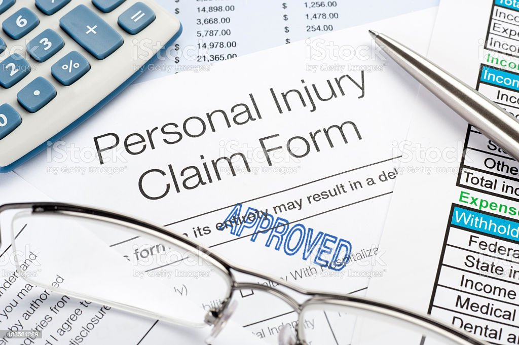Approved Personal Injury Claim Form royalty-free stock photo