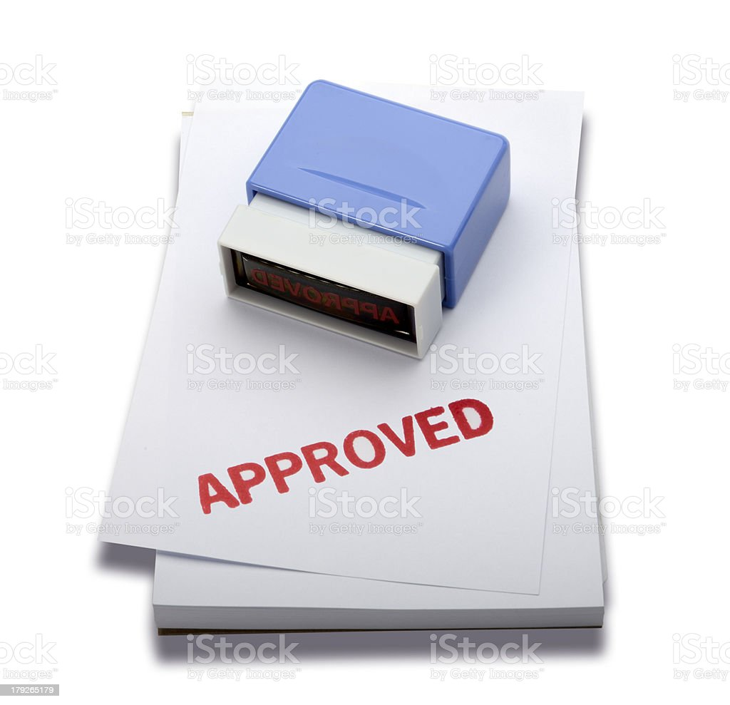Approved rubber stamp (Clipping path) royalty-free stock photo