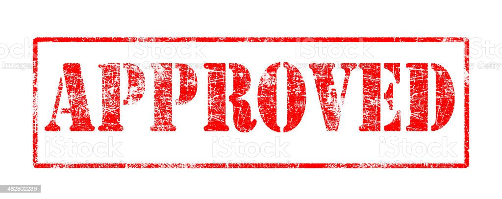 Approved  - Rubber Stamp stock photo