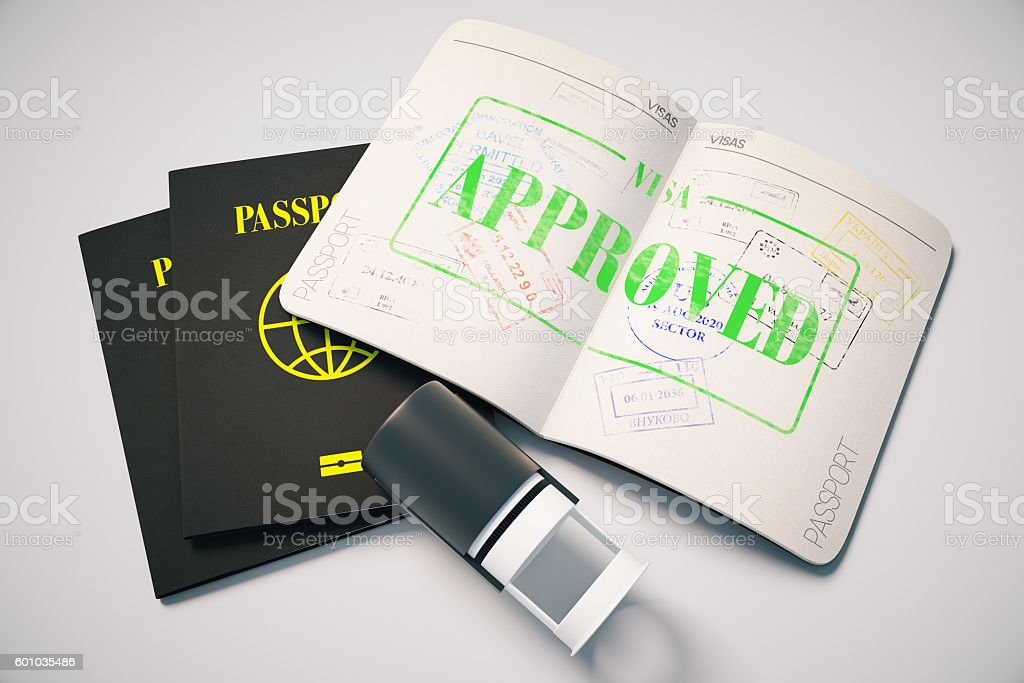 Approved visa stock photo
