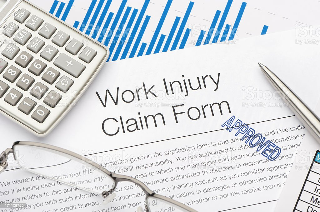 Approved Work injury claim form royalty-free stock photo