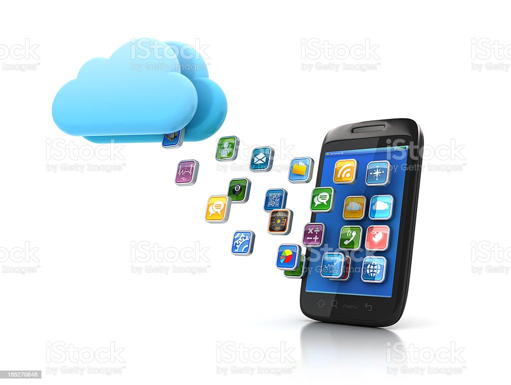 apps dowload or sync to cloud royalty-free stock photo