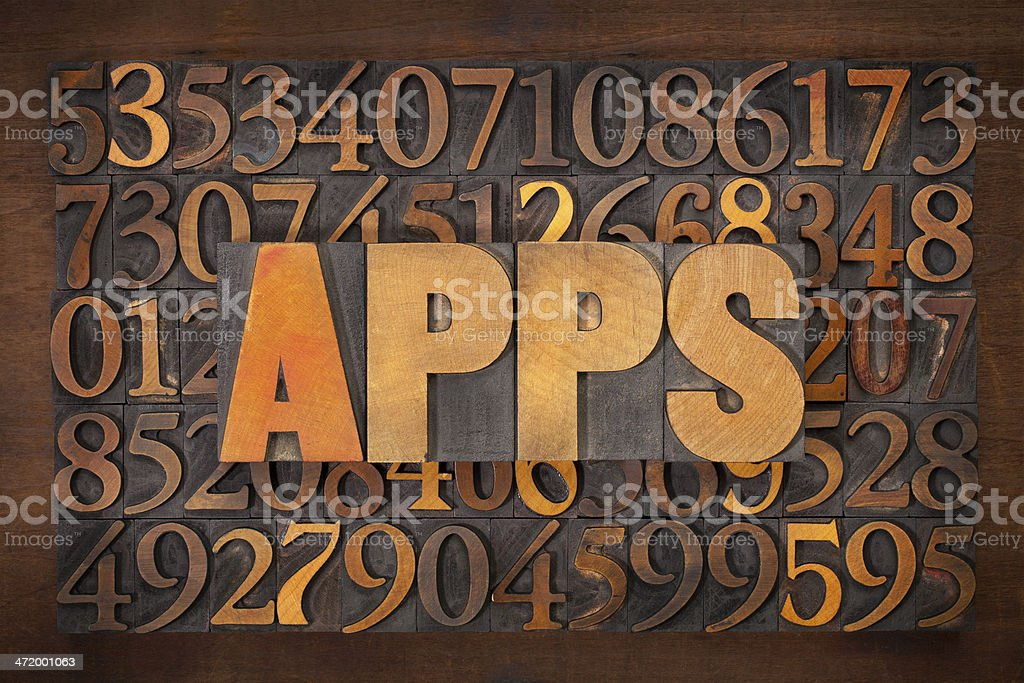 apps (applications) word in wood type royalty-free stock photo