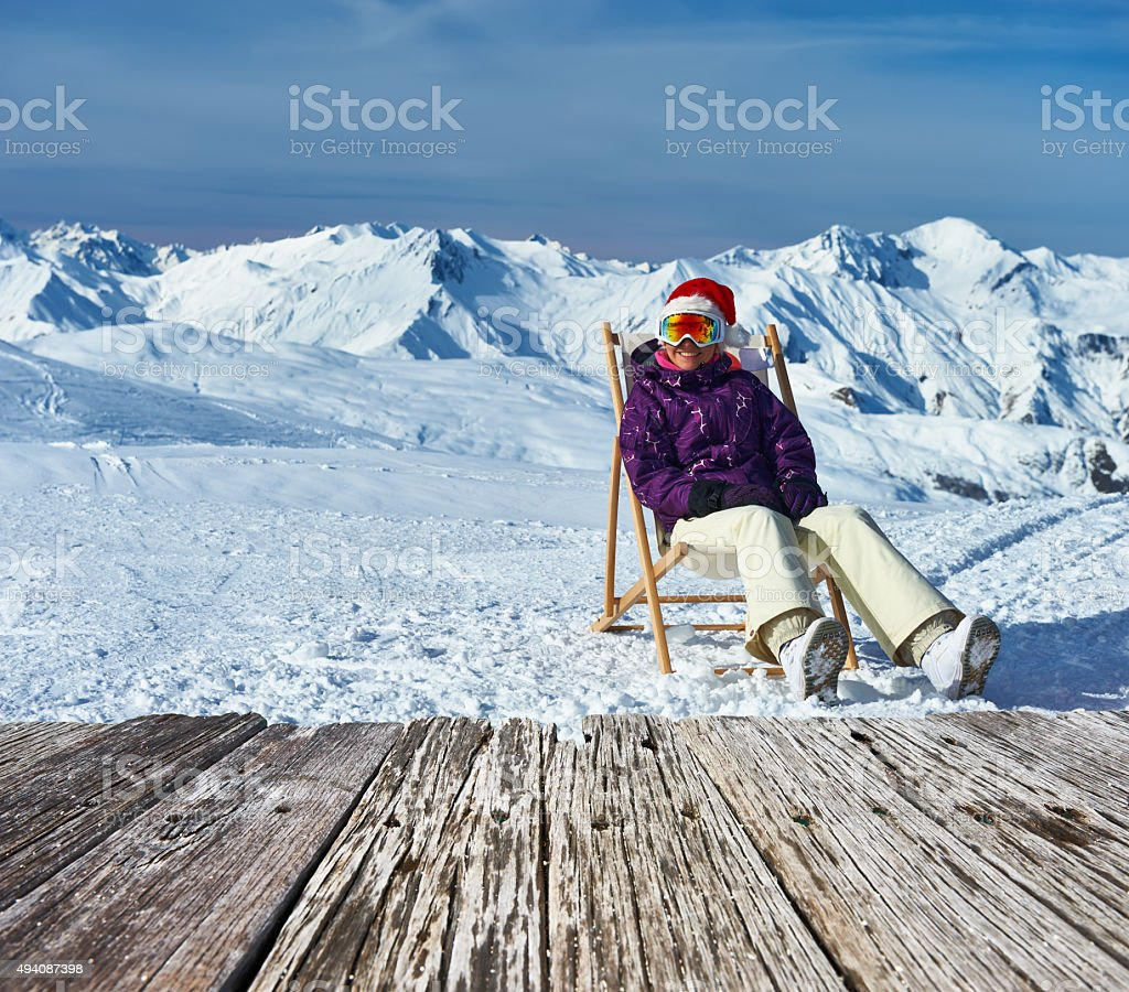 Apres ski at mountains during christmas stock photo