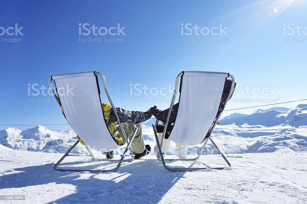 Apres ski at mountains stock photo
