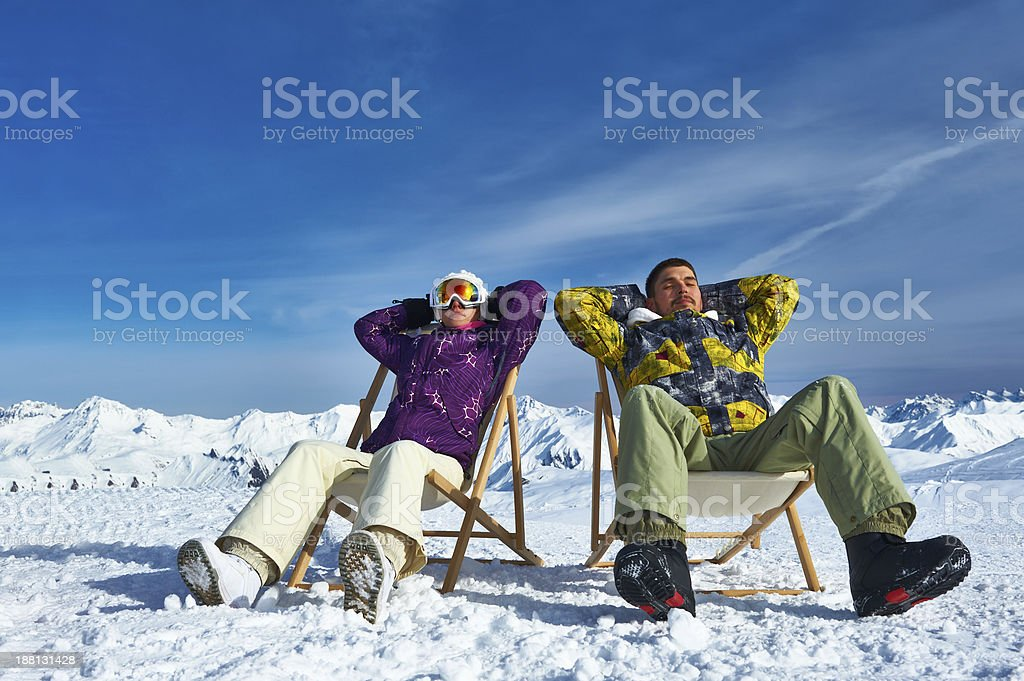 Apres ski at mountains stock photo