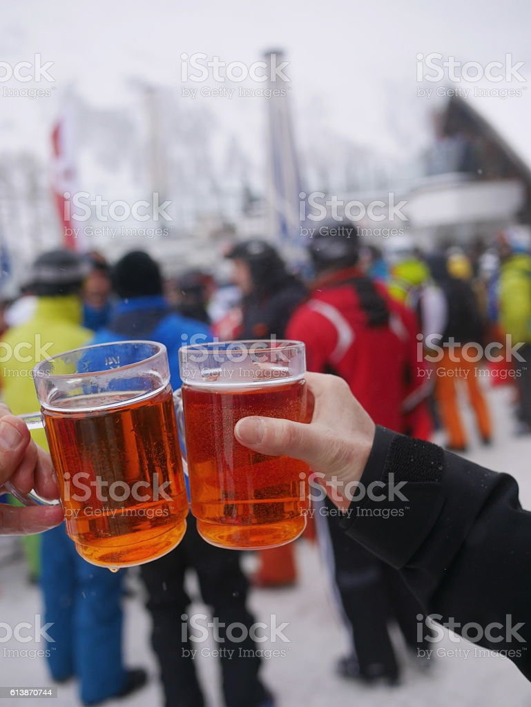 Apres Ski  At Skiing Resort stock photo
