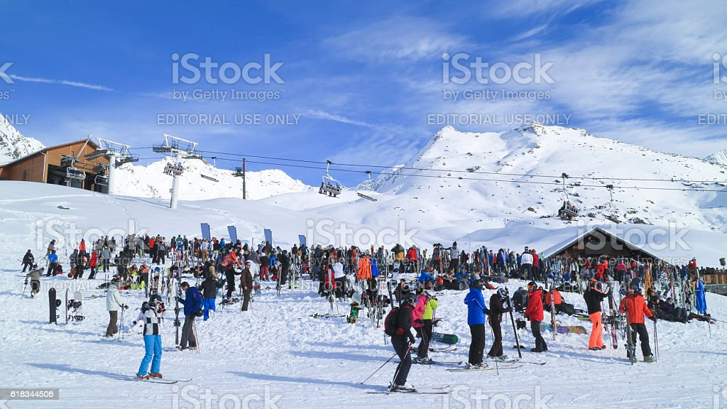 Apres ski party on ski slopes bar restaurant in Alps stock photo