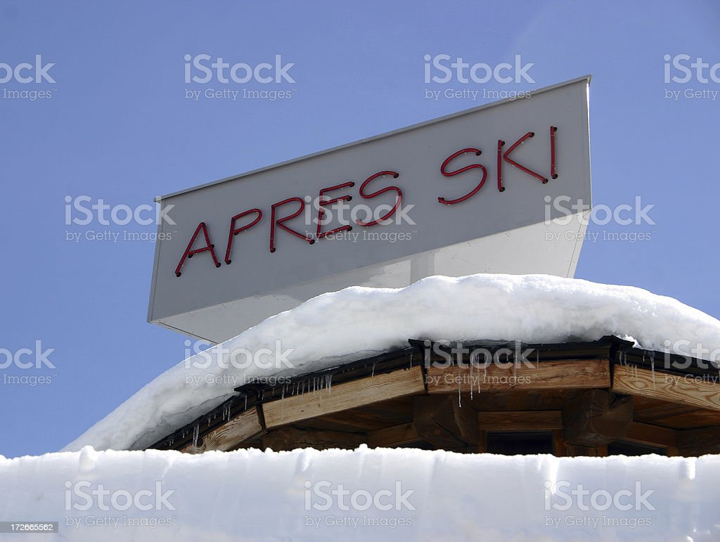 Apres-ski sign stock photo