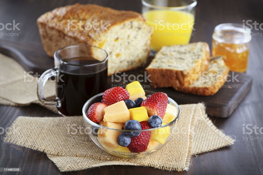 apricot bread and fruit salad royalty-free stock photo