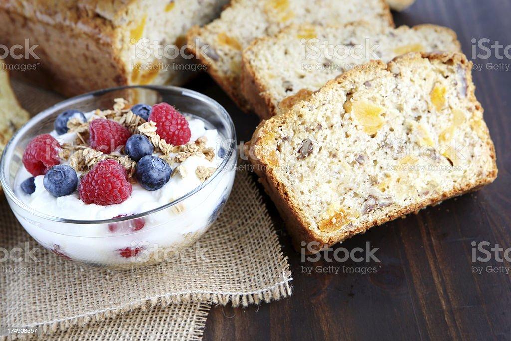 apricot bread and yogurt royalty-free stock photo