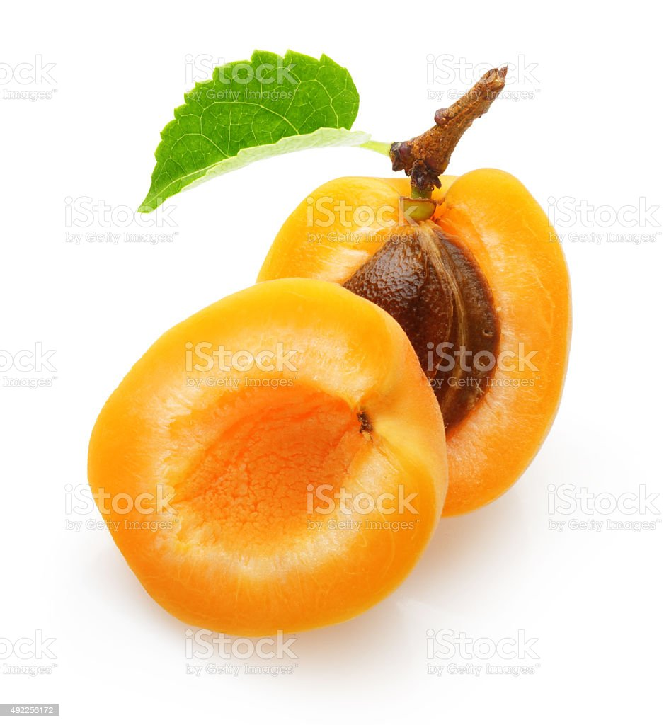 Apricot fruit with leaf isolated stock photo
