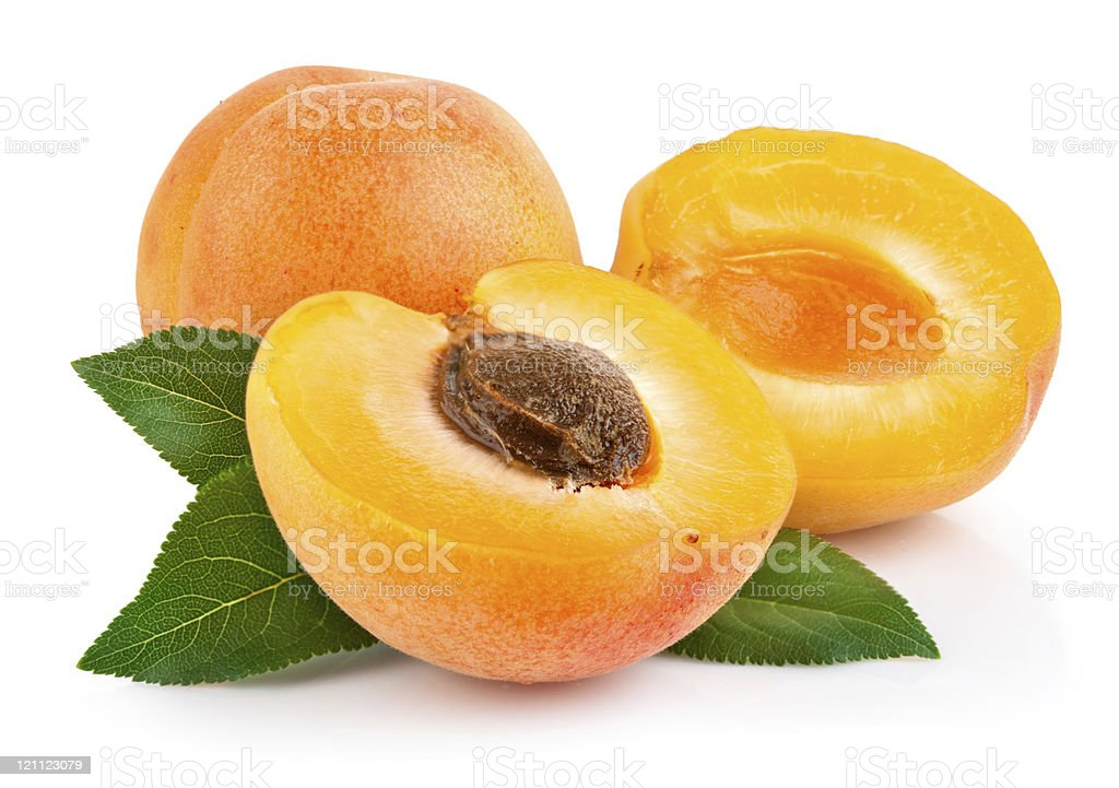 apricot fruits with green leaf stock photo