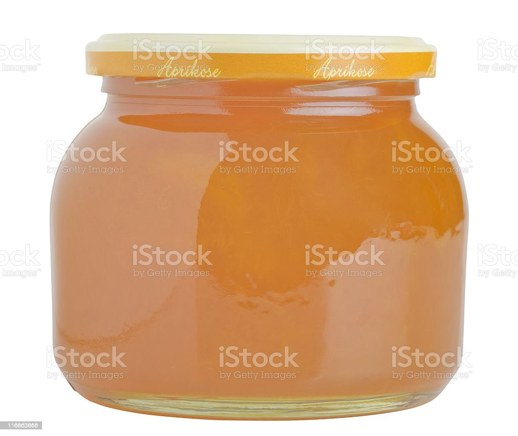 apricot jam glass stock photo