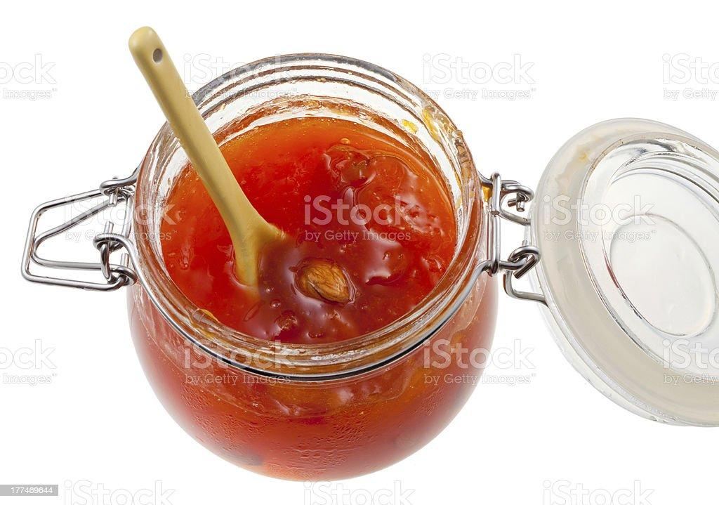 apricot jam in jar stock photo