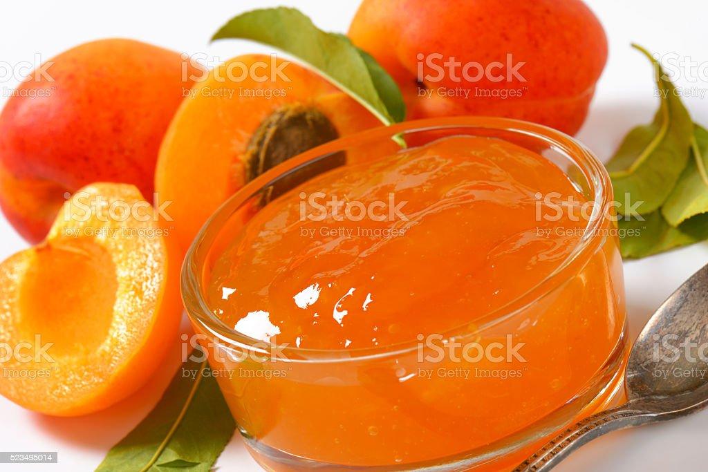 Apricot jam stock photo