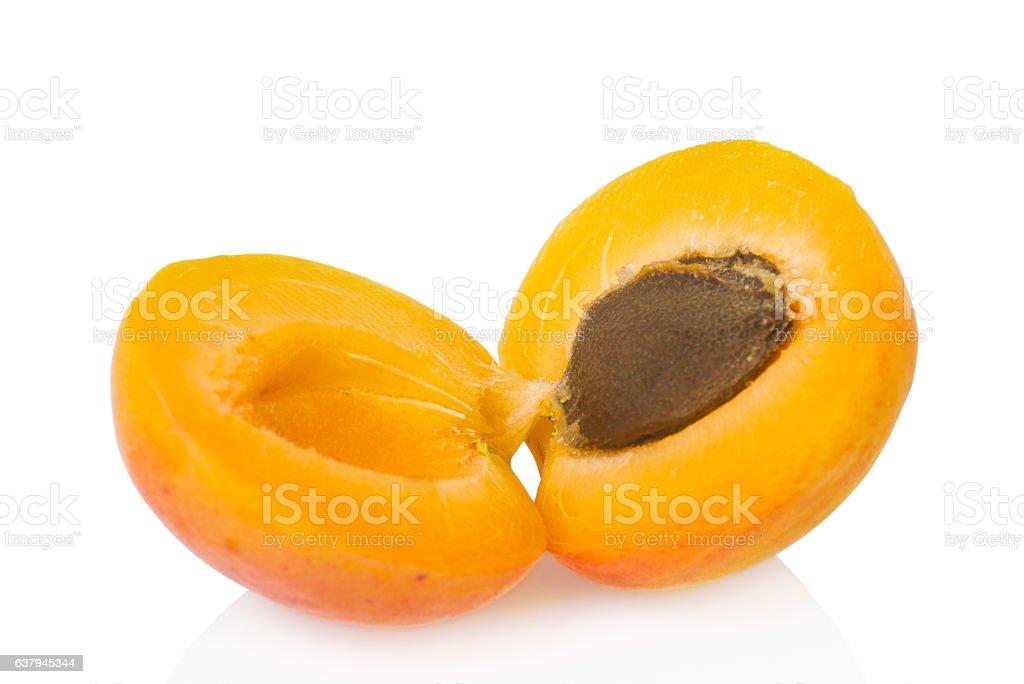 Apricot on white stock photo