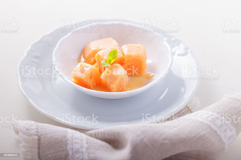 Apricot sorbet stock photo