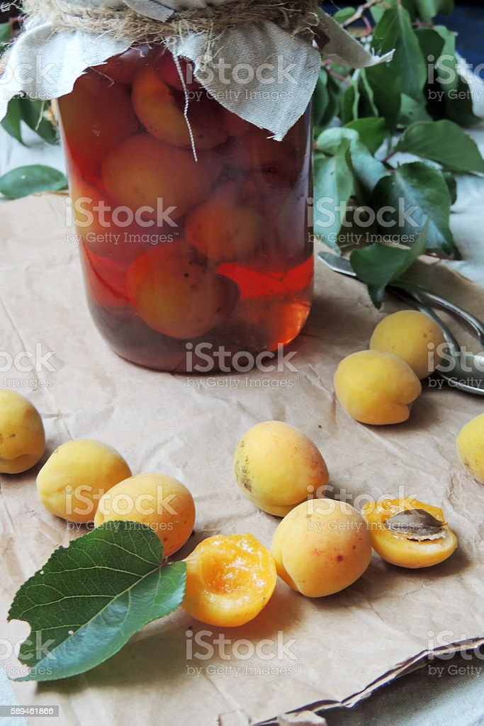 Apricots and apricot jam stock photo