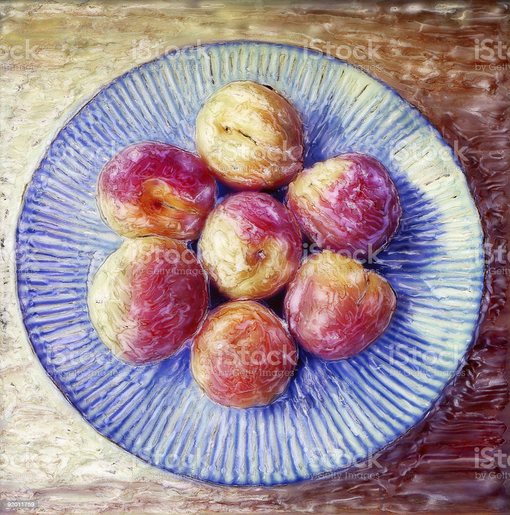 Apricots on a Blue Striped Plate royalty-free stock photo