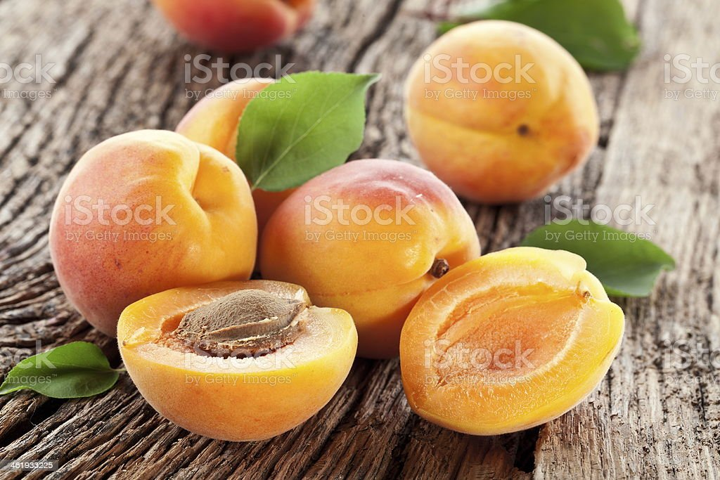 Apricots with leaves stock photo
