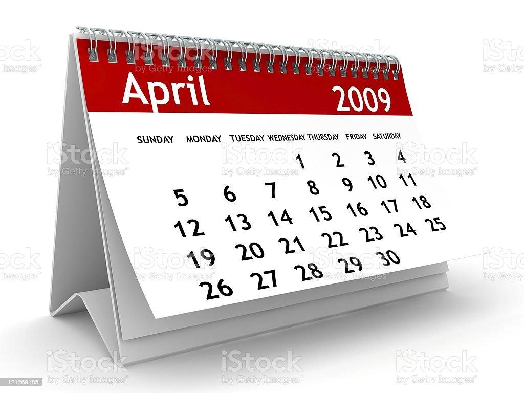 April 2009 - Calendar series royalty-free stock photo