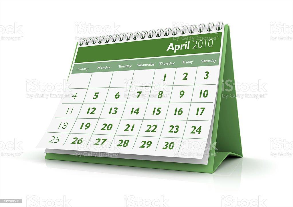 April. 2010 calendar stock photo