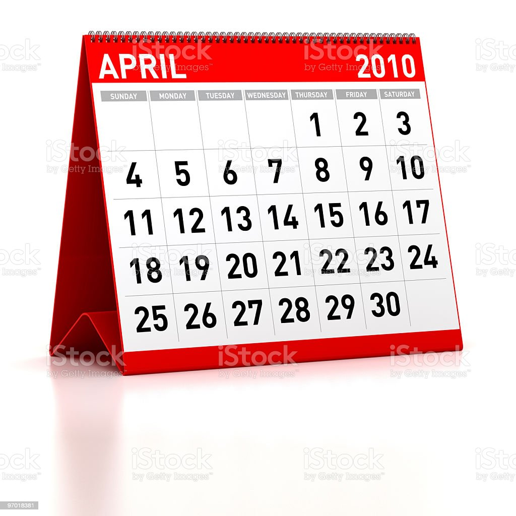 April 2010 - Calendar royalty-free stock photo