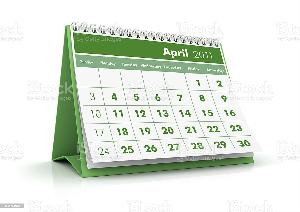 April. 2011 calendar royalty-free stock photo